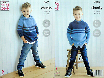£3.85 • Buy KNITTING PATTERN Childrens Easy Knit Striped Jumper &Hoodie Chunky KingCole 5680