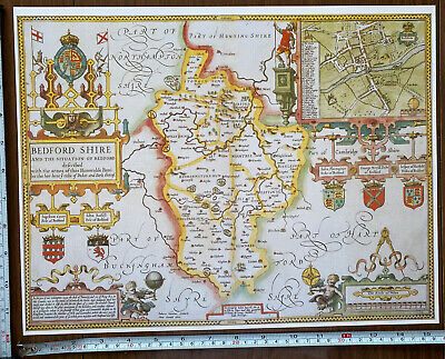 Old Tudor Poster Map Bedfordshire, Bedford: Speed 1600s 15  X 12 Reprint Antique • 9.99£