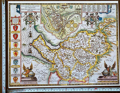 Old Tudor Poster Map Of Cheshire, Chester: Speed 1600's 15  X 12 Reprint Antique • 9.99£