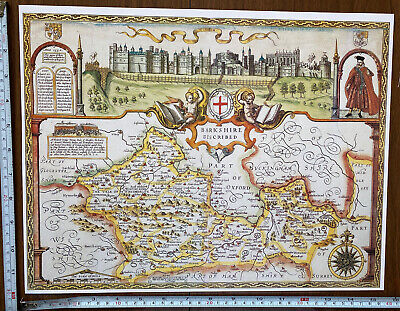 Old Tudor Poster Map Of Berkshire, Windsor Speed 1600's 15  X 12 Reprint Antique • 9.99£