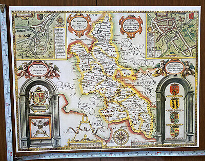 Old Tudor Poster Map Of Buckinghamshire, Reading: Speed 1600's 15  X 12 Reprint • 9.99£