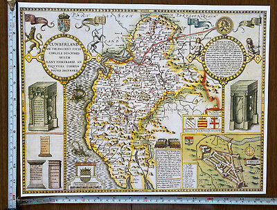 Old Tudor Poster Map Cumberland, Carlise: Speed 1600's 15  X 12 Reprint Antique • 9.99£