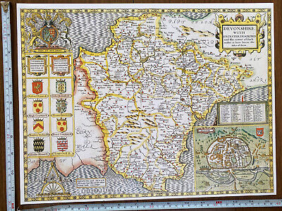 Old Tudor Poster Map Of Devon, Exeter: Speed 1600's 15  X 12 Reprint Antique • 9.99£
