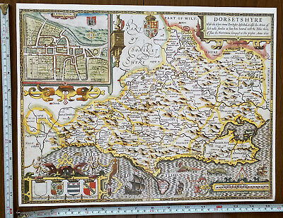 Old Tudor Poster Map Of Dorset, Dorchester Speed 1600's 15  X 12 Reprint Antique • 9.99£