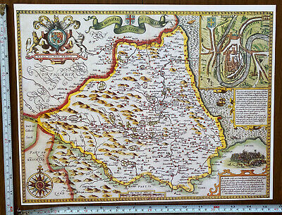 Old Tudor Poster Map Of County Durham: Speed 1600's 15  X 12 Reprint Antique • 9.99£