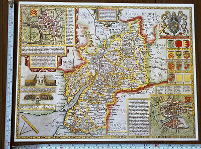 Old Tudor Poster Map Gloucestershire: Bristol: Speed 1600's 15  X 12 Reprint • 9.99£