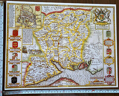 Old Tudor Poster Map Of Hampshire: Speed 1600's 15  X 12 Reprint Antique • 9.99£