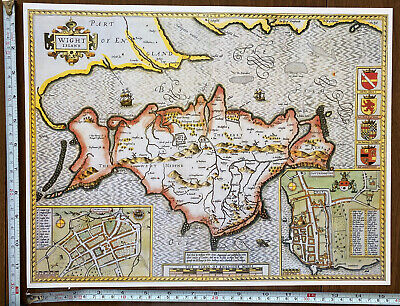 Old Tudor Poster Map Of Isle Of Wight, Southampton Speed 1600's 15  X 12 Reprint • 9.99£
