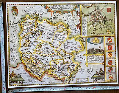 Old Tudor Poster Map Of Herefordshire: Speed 1600's 15  X 12 Reprint Antique • 9.99£