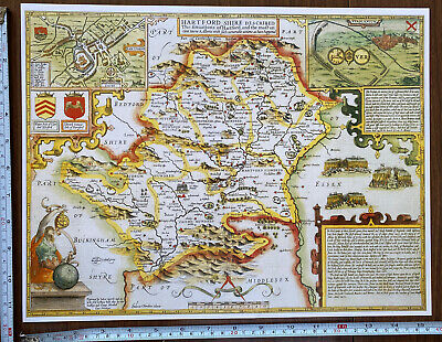 Old Tudor Poster Map Of Hertfordshire: Speed 1600's 15  X 12 Reprint Antique • 9.99£