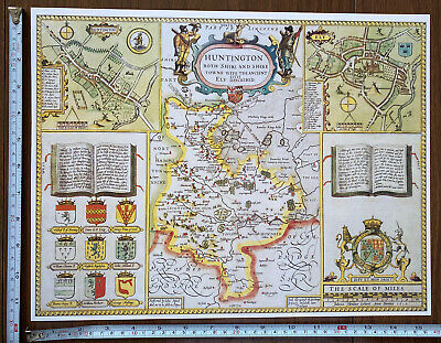 Old Tudor Poster Map Of Huntington, Ely: Speed 1600's 15  X 12 Reprint Antique • 9.99£