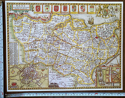 Old Tudor Poster Map Kent, Canterbury, Rochester: Speed 1600's 15  X 12 Reprint • 9.99£