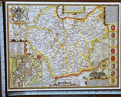 Old Tudor Poster Map Of Leicestershire: Speed 1600's 15  X 12 Reprint Antique • 9.99£