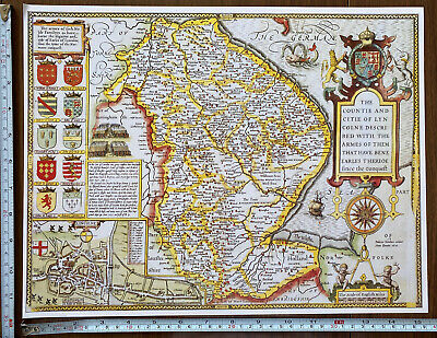 Old Tudor Poster Map Lincolnshire Lincoln: Speed 1600's 15  X 12 Reprint Antique • 9.99£