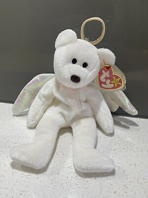 Halo Bear Ty Beanie Baby (rare) Collectable White 1998 Perfect Condition • 200£