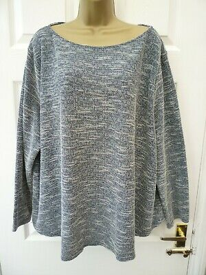 H&M Ladies Size 4XL 30 32 Blue White Marl Striped Casual Slouchy Knit Jumper Top • 6.99£