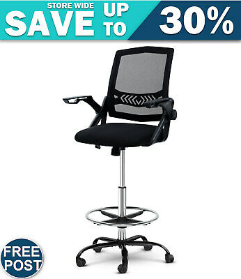 AU154.40 • Buy Artiss Office Chair Veer Drafting Stool Mesh Chairs Flip Up Armrest Black