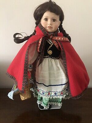 """REGENCY Fine Arts Little Red Riding Hood Porcelain Doll  18"""" With Stand & Tags • 7£"""