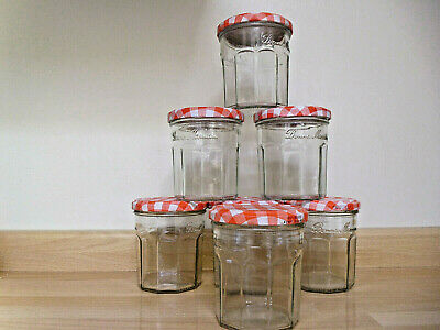 7 Bonne Maman Jam Jars Used Empty 370gm Size With Red Gingham Lids • 4.50£