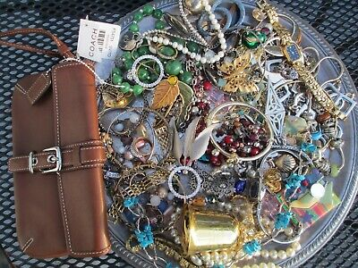 $ CDN60.64 • Buy HUGE! Vintage To Now JUNK DRAWER Estate Jewelry Lot Unsearched W/ Coach Wallet