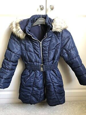 Girls Debenhams Blue Zoo Winter Coat Navy Age 6-7 • 4£