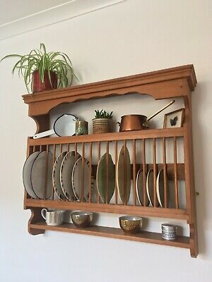 Vintage Wooden Plate Rack & Storage Shelves - Victorian Kitchen Wall Mounted  • 80£