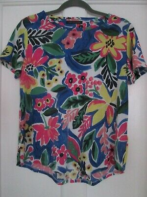 Ladies Colourful Tropical Print T-Shirt Top Size 14 M&S Collection • 2.99£