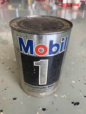 $ CDN37.97 • Buy Vintage Mobil 1 Synthetic Motor Oil Quart Metal Tin Can CAN IS Full 5w-20