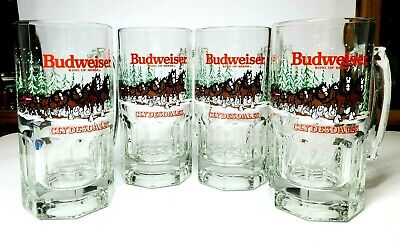 $ CDN52.71 • Buy LOT OF 4 Budweiser Clydesdale Glass Beer Stein Holiday Winter Collectible 1989