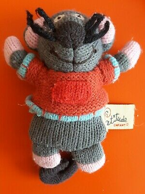 Latitude Enfant Small Marie Mouse Plush Knitted Soft Kids Baby Toy Grannimals • 3£