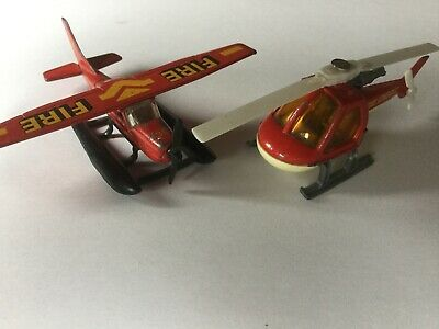 Matchbox .Fire Department-Helicopter (1982) And Rare ,Float Plane (1974). • 6.90£