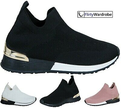 Sock Wedge Trainers Sneakers Slip On Classic Jogging Pumps Shoes Womens Ladies • 17.99£