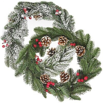 35cm Classic Green Artificial Christmas Wreath Door Wall Hanging Decoration   • 10.49£