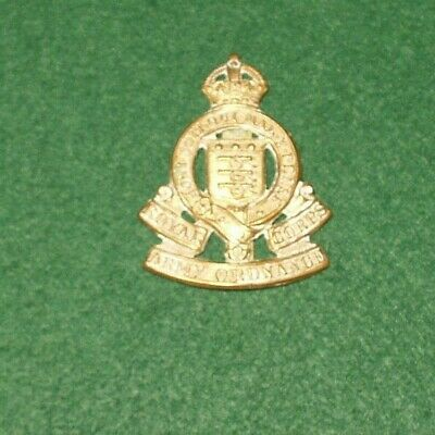 ROYAL ARMY ORDNANCE CORPS BRASS  KC CAP BADGE Aa • 7£