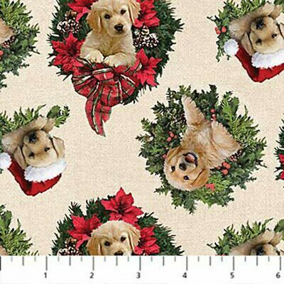 Santa's Helpers Cotton Print - Labrador Wreath On Cream - Per Half Metre • 9.25£