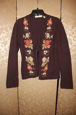$ CDN52.35 • Buy Anthropologie Sleeping On Snow Brown Floral Embroidered Sweater Cardigan M
