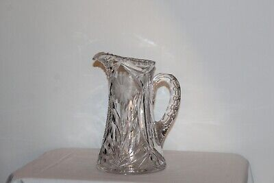 $69.99 • Buy Antique Cut Clear Glass Pitcher Flower Pattern Thick Heavy Glass Pitcher