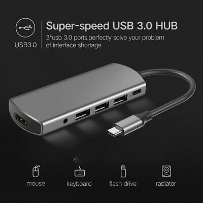 AU40.57 • Buy 8 In 1 USB-C Hub Type-C Multiport Card Reader Adapter 4K HDMI For MacBook Pro UK