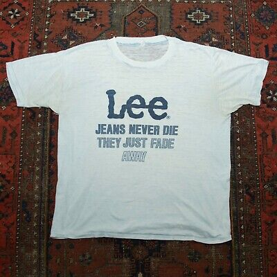 $ CDN32.67 • Buy Vintage Lee Jeans 50/50 T-Shirt - Jeans Never Die They Just Fade Away - Small