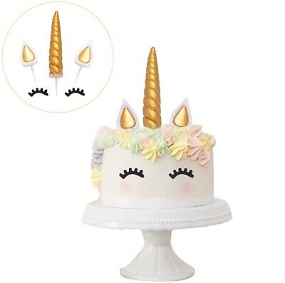 AU13.99 • Buy 5PCS Unicorn Cake Topper Birthday Party Reusable Decoration Horn Ears Eyelashes