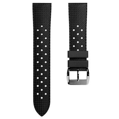 ZULUDIVER® Vintage Tropical Style Rubber Watch Strap Black 20mm Or 22mm • 28£