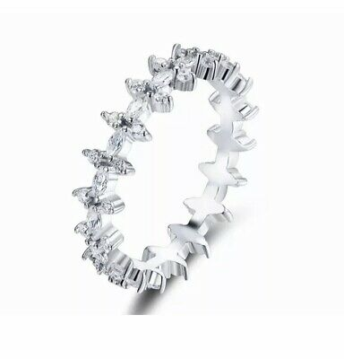 925 Sterling Silver Ring, Pave Eternity Ring, Dainty Silver Ring, Multiple Sizes • 15£