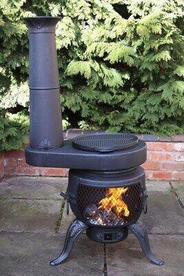 Steel Chimenea With Stove Chimenea Barbeque Patio Heater With Outdoor Stove BBQ • 199.99£