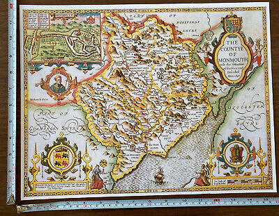 Old Tudor Poster Map Of Monmouthshire: Speed 1600's 15  X 12 Reprint Antique • 9.99£