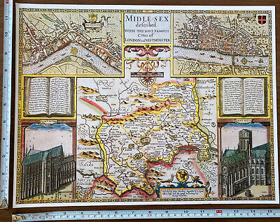 Old Tudor Poster Map Of Middlesex, London: Speed 1600's 15  X 12 Reprint Antique • 9.99£