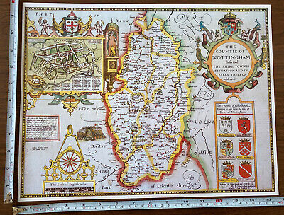 Old Tudor Poster Map Of Nottinghamshire: Speed 1600's 15  X 12 Reprint Antique • 9.99£
