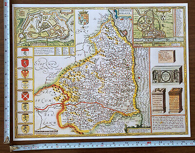 Old Tudor Poster Map Of Northumberland: Speed 1600's 15  X 12 Reprint Antique • 9.99£