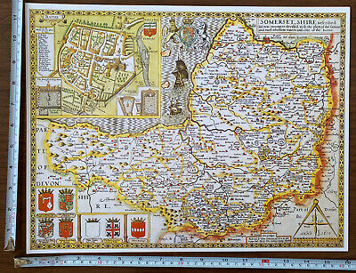 Old Tudor Poster Map Of Somerset, Bath: Speed 1600's 15  X 12 Reprint Antique • 9.99£
