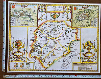 Old Tudor Poster Map Rutland, Oakham, Stamford: Speed 1600's 15  X 12 Reprint  • 9.99£