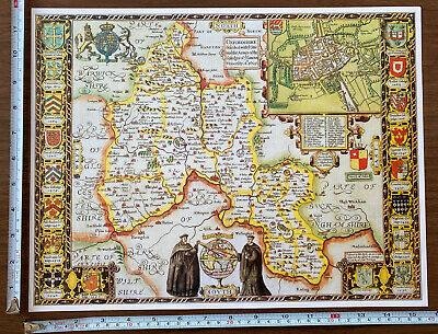 Old Tudor Poster Map Oxfordshire, Oxford: Speed 1600s 15  X 12 Reprint Antique • 9.99£